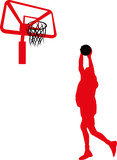 Basketball players with balls, red color