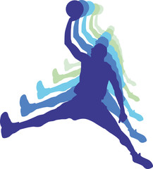 Basketball players with balls, blue grey color