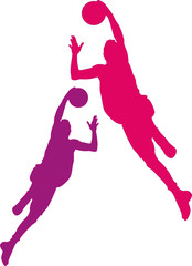 Basketball players with balls, violet, pink color