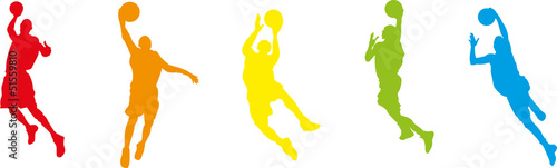 Basketball players with balls, orange red blue color