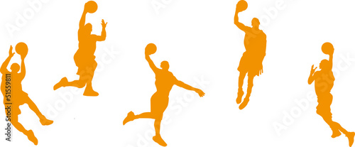 basketball players with balls, orange color