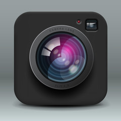 Black color photo camera icon