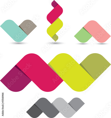 Colorful ribbon shapes