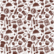 Restaurant menu related seamless pattern