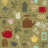 Seamless pattern background with tea related symbols