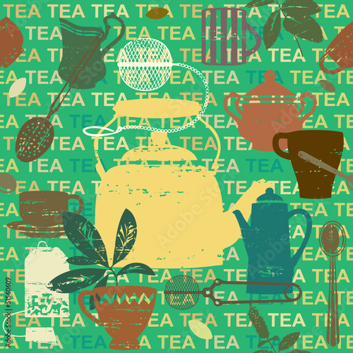 Seamless pattern with scratched tea related symbols and letters