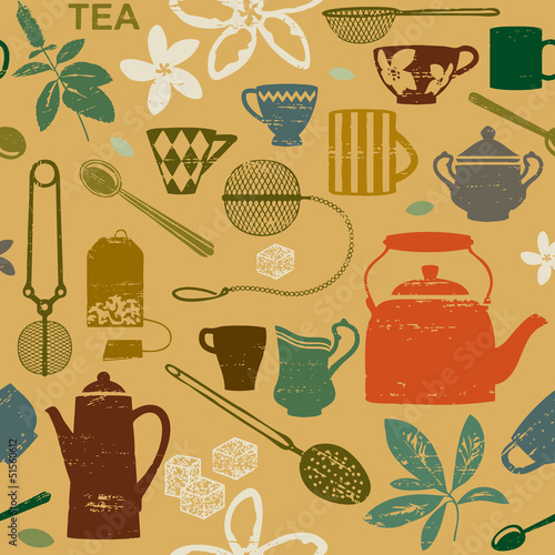 Seamless pattern with scratched tea related symbols
