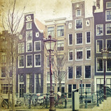 Vintage photo of traditional dutch buildings, in Amsterdam