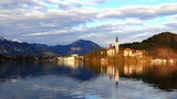 Lake Bled with island, church. Slovenia, Europe.