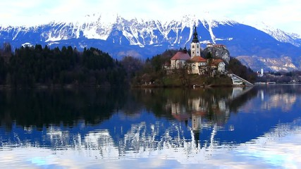 Lake Bled, early spring, Slovenia, Europe.