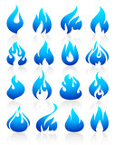 Fire flames blue, set icons