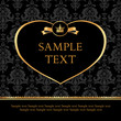 Golden label heart on damask black background
