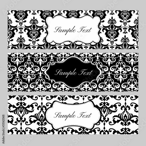 Labels on damask background