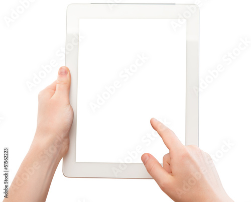 white tablet with a  blank screen in the hands of woman