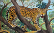 pastel drawing of jaguar in the jungle