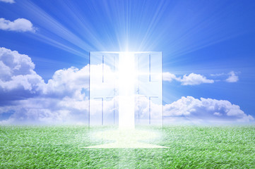 光が射し込むドア
