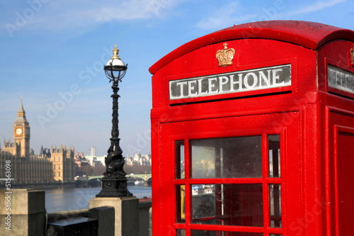 Big Ben with red phone box in London, UK