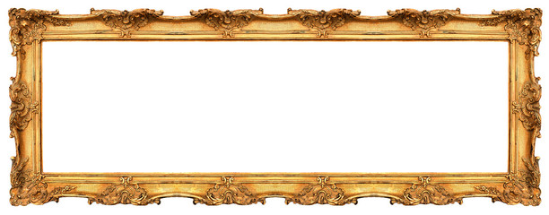 long old golden frame isolated on white