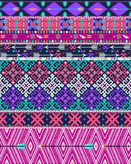 Tribal seamless aztec pattern with birds and flowers