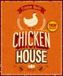 Vintage Chicken House Poster. Vector illustration.