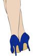 Gambe sensuali in scarpe blu
