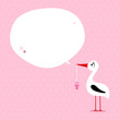 Babycard Girl Stork With Pacifier Speech Bubble Pink