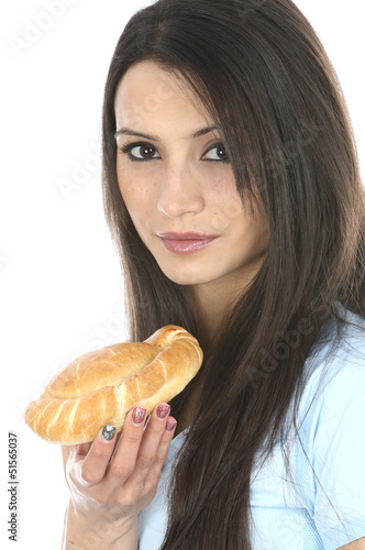Model Released. Woman Eating Cornish Pasty