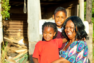 African woman and her children