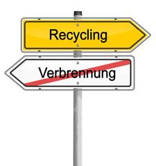 Schild Recycling Verbrennung