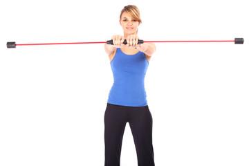 Frau mit Swingstick