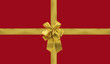 emballage cadeau rouge, noeud papillon doré