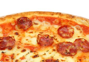 close up of big fat italian salami pizza