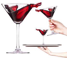 Red cocktail with splash set