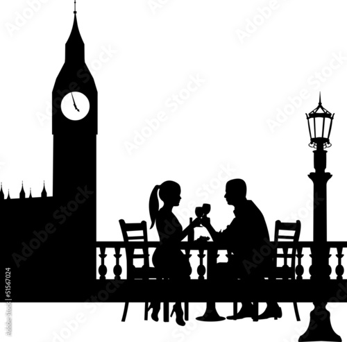 Romantic couple in front Big Ben in London have a dinner