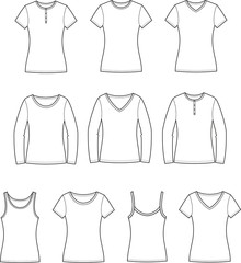 Vector illustration of women's t-shirts