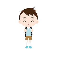 ランドセルを背負った小学生の男の子 笑顔