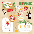 set of pizzeria illustration