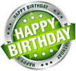 "Button Banner ""Happy Birthday"" Green/Silver"