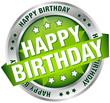 "Button Banner ""Happy Birthday"" Green/Silver"