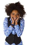 Lachende Afroameriakanerin