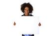 Attraktive Afroamerikanierin mit Werbetafel