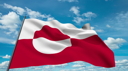 Greenland flag waving against time-lapse clouds background