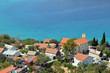 Mediterranean village houses on the beach. Lukovo, Croatia