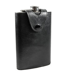 Flask made of leather and stainless steel.