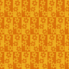 vector seamless yellow backdrop with drawing flowers