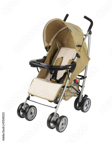A yellow pram isolated on white background