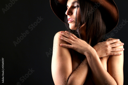 Frau mit Hut