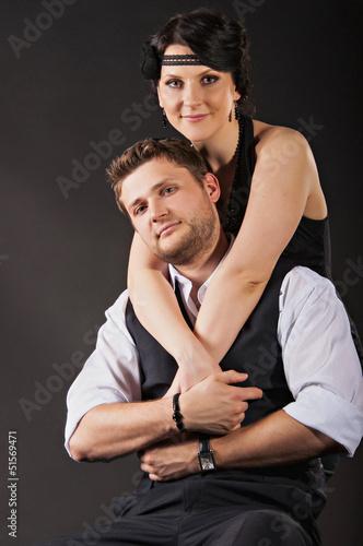 портрет пары в стиле ретро