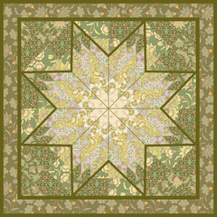 Quilting pattern background design with star motive