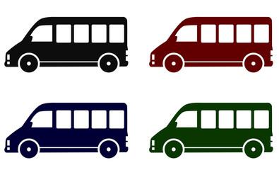 set of minibus icons